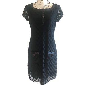 EnFocus Studio Black Polka Dot Lace Dress